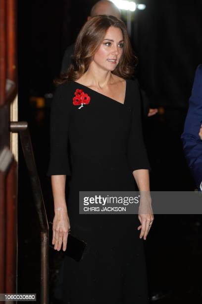 Britain's Catherine Duchess of Cambridge arrives to attend the annual Royal British Legion Festival of Remembrance at the Royal Albert Hall in London...
