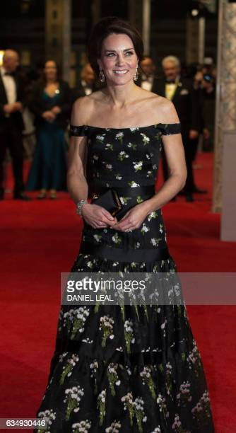 Britain's Catherine, Duchess of Cambridge arrives to attend the BAFTA British Academy Film Awards at the Royal Albert Hall in London on February 12,...