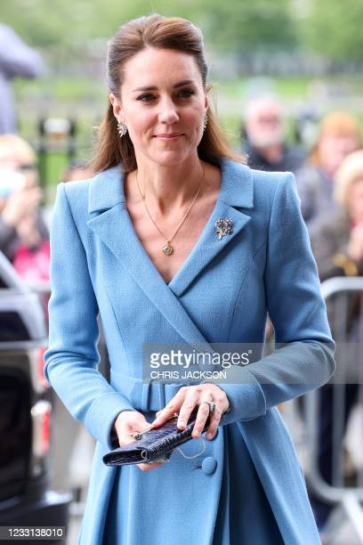 Britain's Catherine, Duchess of Cambridge, arrives to attend the closing ceremony of the General Assembly of the Church of Scotland in Edinburgh on...