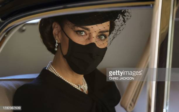 Britain's Catherine, Duchess of Cambridge, arrives to attend the funeral ceremony of Britain's Prince Philip, Duke of Edinburgh at St George's Chapel...