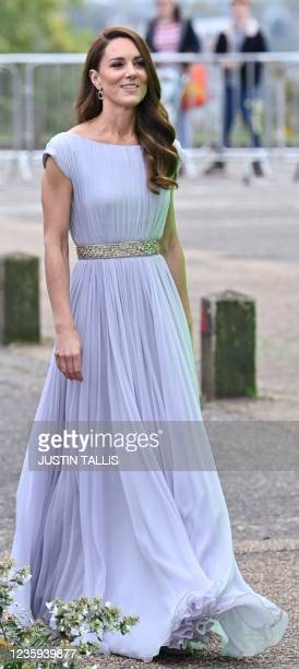 Britain's Catherine, Duchess of Cambridge, arrives to attend the inaugural Earthshot Prize awards ceremony at Alexandra Palace in London on October...