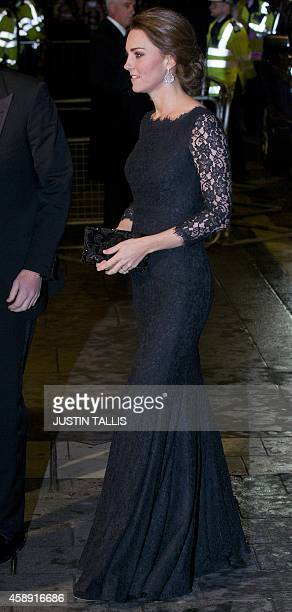 Britain's Catherine Duchess of Cambridge arrives to attend the Royal Variety Performance at the London Palladium Theatre on November 13 2014 The...