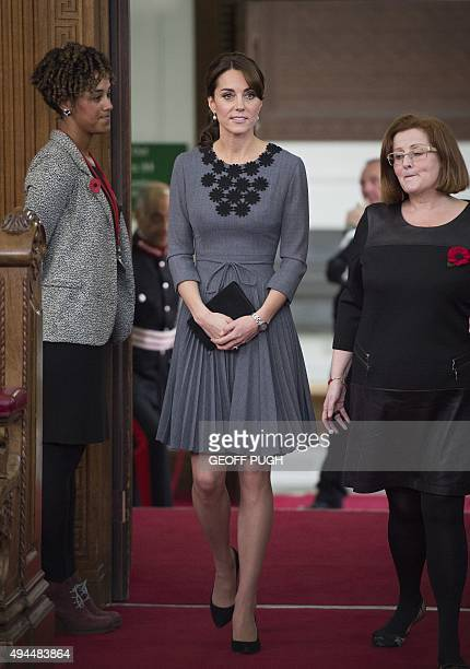 Britain's Catherine Duchess of Cambridge arrives to meet children and mentors participating in Chance UK's early intervention mentoring programme at...