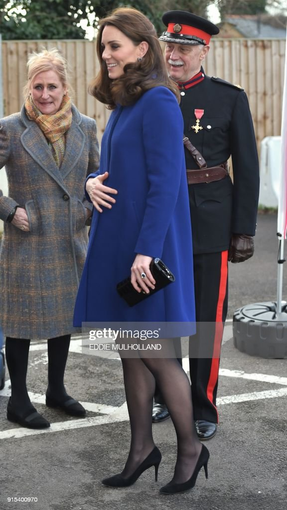 Britain's Catherine, Duchess of Cambridge (C) arrives to officially open an Action on Addiction Community Treatment Centre in Wickford, east of London on February 7, 2018. The centre opened it's do...