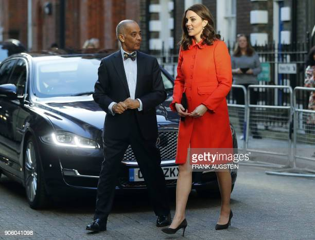 Britain's Catherine Duchess of Cambridge arrives to officially open the Mittal Children's Medical Centre home to the new Premier Inn Clinical...