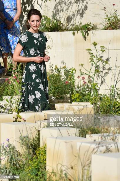 Britain's Catherine Duchess of Cambridge arrives to view the 'MG Garden 2017' as she visits the Chelsea Flower Show in London on May 22 2017 The...