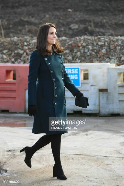 Britain's Catherine Duchess of Cambridge arrives to view the underconstruction Northern Spire Bridge across the River Wear in Sunderland on February...