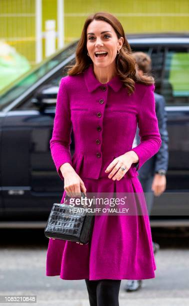 Britain's Catherine Duchess of Cambridge arrives to visit to the costume department at the Royal Opera House in London on January 16 2019 The Royal...