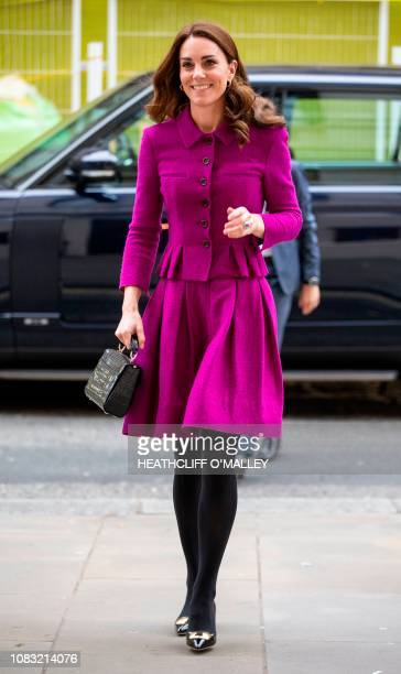 Britain's Catherine, Duchess of Cambridge, arrives to visit to the costume department at the Royal Opera House in London on January 16, 2019. - The...