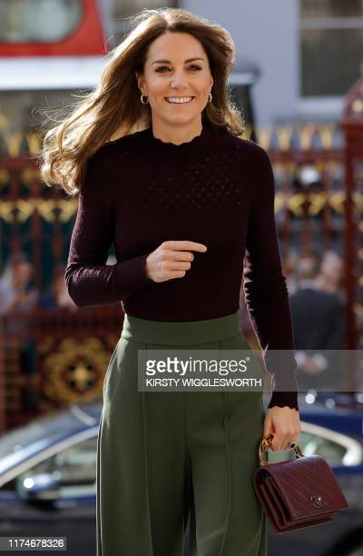 Britain's Catherine Duchess of Cambridge arrives to vist the Natural History Museum in London on October 9 to visit the Angela Marmont Centre for UK...
