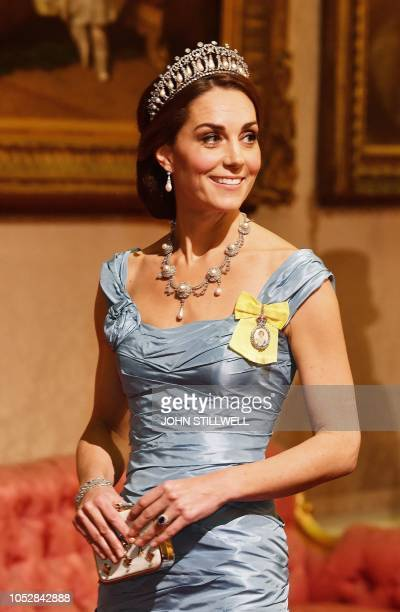 Britain's Catherine Duchess of Cambridge attends a State Banquet in honour of King WillemAlexander and Queen Maxima of the Netherlands at Buckingham...