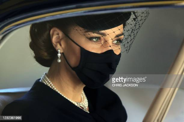 Britain's Catherine, Duchess of Cambridge, attends the funeral of Britain's Prince Philip, Duke of Edinburgh at St George's Chapel in Windsor Castle...