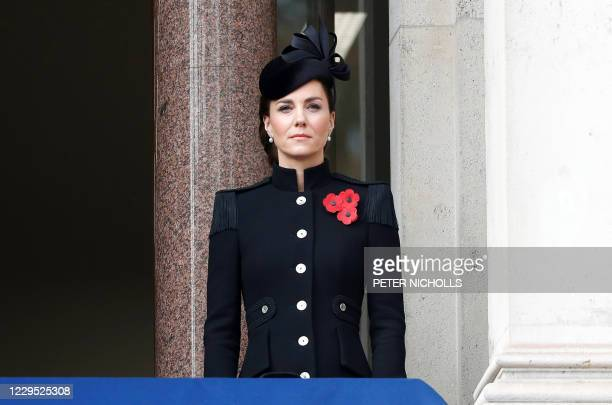Britain's Catherine, Duchess of Cambridge, attends the Remembrance Sunday ceremony at the Cenotaph on Whitehall in central London, on November 8,...