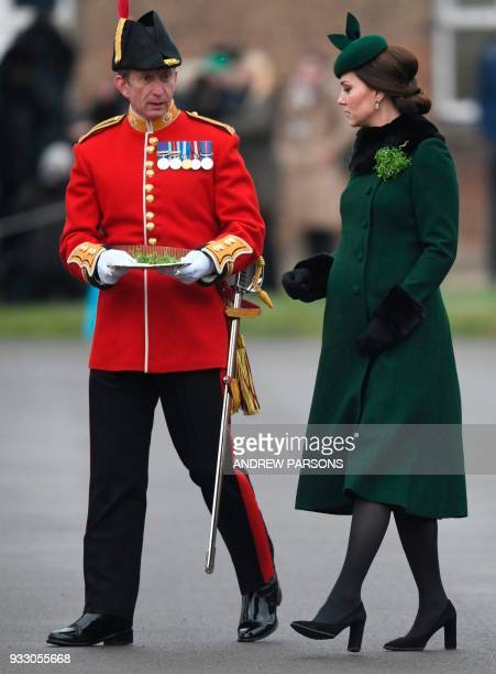 Britain's Catherine Duchess of Cambridge attends the St Patrick's Day Parade with the 1st Battalion Irish Guards at Cavalry Barracks Hounslow London...
