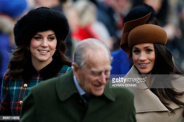TOPSHOT Britain's Catherine Duchess of Cambridge Britain's Prince Philip Duke of Edinburgh and US actress and fiancee of Britain's Prince Harry...