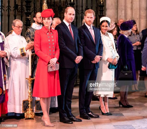 Britain's Catherine Duchess of Cambridge Britain's Prince William Duke of Cambridge Britain's Prince Harry Duke of Sussex and Britain's Meghan...