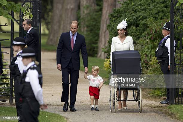 Britain's Catherine, Duchess of Cambridge , Britain's Prince William, Duke of Cambridge and their son Prince George of Cambridge arrive with Princess...