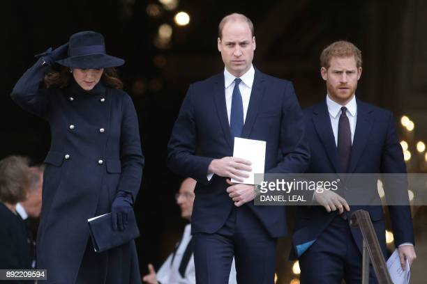 Britain's Catherine Duchess of Cambridge Britain's Prince William Duke of Cambridge and Britain's Prince Harry leave after attending the Grenfell...