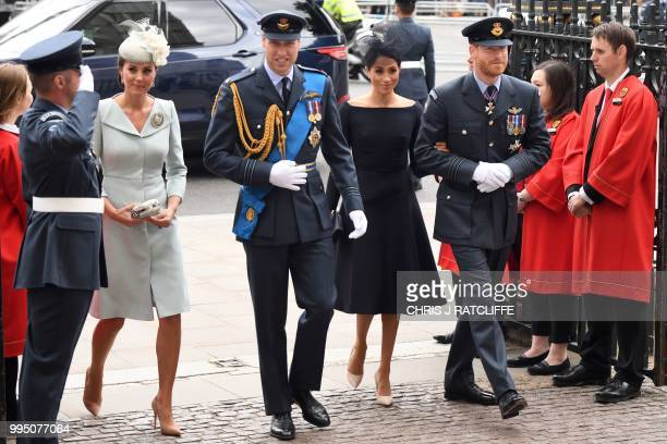 Britain's Catherine Duchess of Cambridge Britain's Prince William Duke of Cambridge Britain's Prince Harry Duke of Sussex and Meghan Duchess of...
