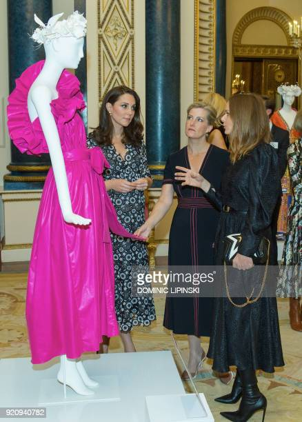 Britain's Catherine Duchess of Cambridge Britain's Sophie Countess of Wessex and designer Stella McCartney chat during a reception to mark the...