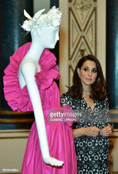 Britain's Catherine Duchess of Cambridge cohosts a reception to mark the creation of the Commonwealth Fashion Exchange initiative at Buckingham...