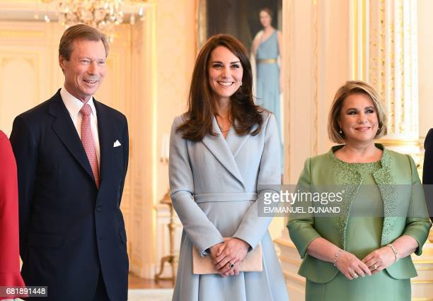 Britain's Catherine Duchess of Cambridge Grand Duke Henri of Luxembourg and Grand Duchess MariaTeresa of Luxembourg pose for a photograph during the...
