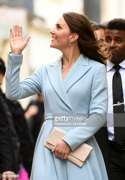 Britain's Catherine Duchess of Cambridge greets people during the Celebration of the 150th anniversary of the 1867 Treaty of London in Luxembourg on...