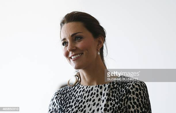 Britain's Catherine Duchess of Cambridge is pictured during a visit of Turner Contemporary art gallery in Margate southern England on March 11 2015...