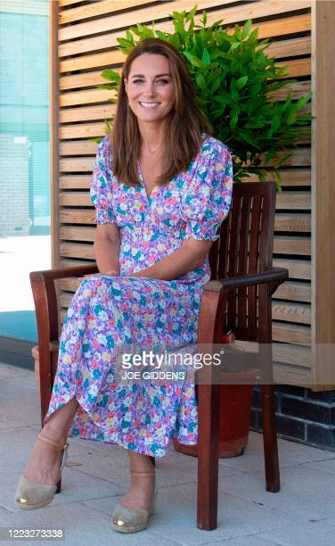 Britain's Catherine Duchess of Cambridge is seen during a visit to The Nook in the village of Framlingham Earl south of Norwich eastern England on...