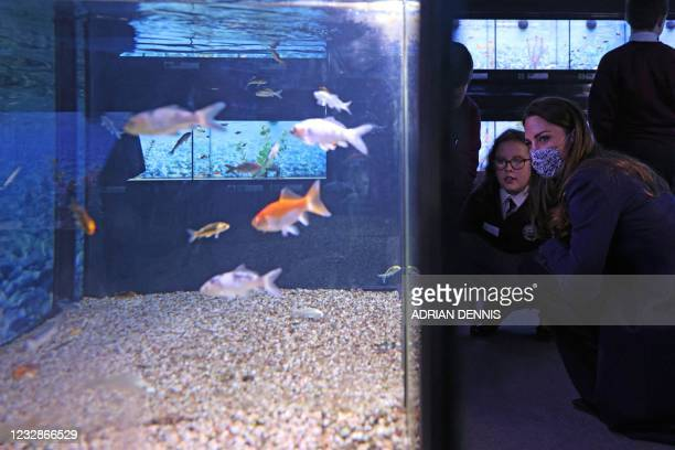 Britain's Catherine, Duchess of Cambridge , joins a group of local school children from Loxdale Primary School viewing the community aquarium during...