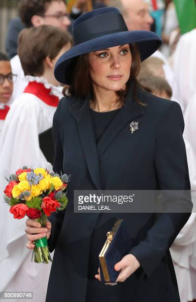 Britain's Catherine Duchess of Cambridge leaves after attending a Commonwealth Day Service at Westminster Abbey in central London on March 12 2018...