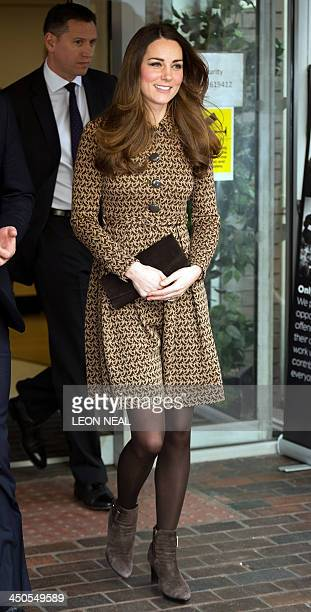 Britain's Catherine Duchess of Cambridge leaves Only Connect head office in London on November 19 following a visit with Prince William Duke of...