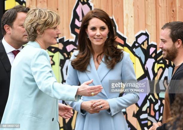 Britain's Catherine Duchess of Cambridge looks on while attending the 'Bicycling Nation Luxembourg' festival in Luxembourg on May 11 2017 / AFP PHOTO...