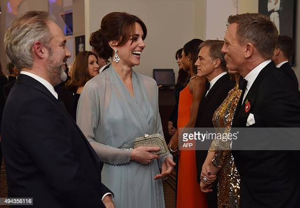 Britain's Catherine Duchess of Cambridge meets British actor Daniel Craig at the world premiere of the new James Bond film 'Spectre' at the Royal...