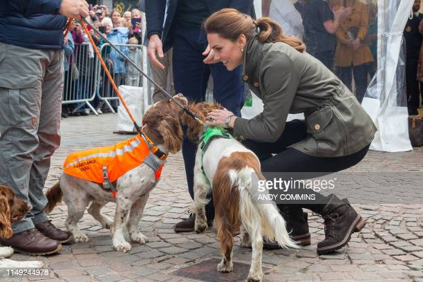 Britain's Catherine, Duchess of Cambridge pats a dog during a visit to the market town of Keswick, north west England on June 11 where they joined a...