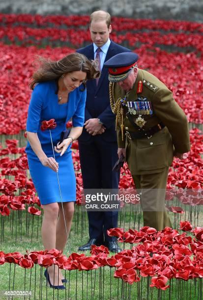 Britain's Catherine, Duchess of Cambridge, 'plants' a ceramic poppy as her husband Prince William, Duke of Cambridge and General the Lord Dannatt,...