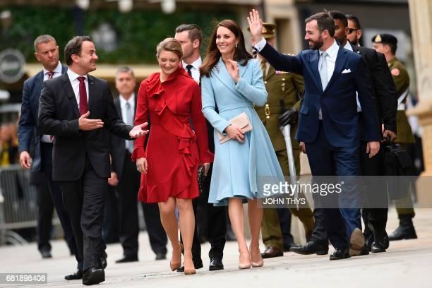 Britain's Catherine Duchess of Cambridge Prince Guillaume Hereditary Grand Duke of Luxembourg and Princess Stephanie Hereditary Grand Duchess of...