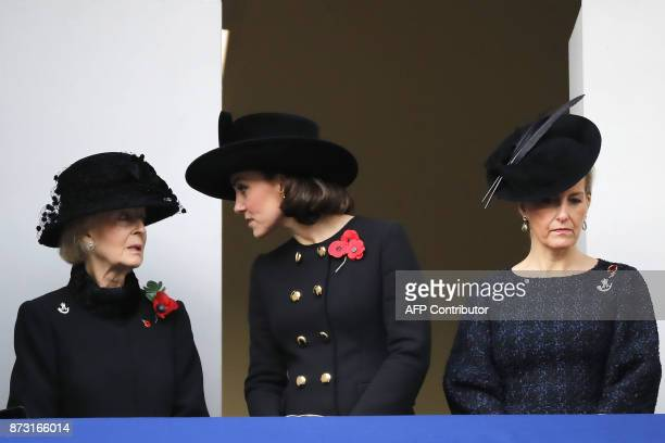 Britain's Catherine Duchess of Cambridge Princess Alexandra The Honourable Lady Ogilvy and Britain's Sophie Countess of Wessex attend the Remembrance...