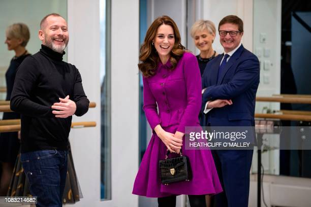 Britain's Catherine Duchess of Cambridge reacts as she visits the Royal Opera House in London on January 16 2019 The Duchess visited the costume...