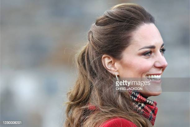 Britain's Catherine, Duchess of Cambridge smiles as she leaves after visiting Cardiff Castle in Cardiff in south Wales, on December 8 on the final...