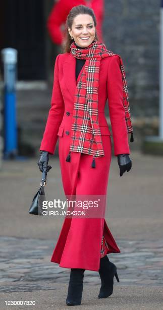 Britain's Catherine, Duchess of Cambridge smiles during a visit to Cardiff Castle in Cardiff in south Wales, on December 8 on the final day of her...