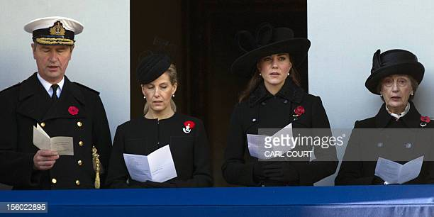 Britain's Catherine Duchess of Cambridge Sophie Countess of Wessex Vice Admiral Timothy Laurence and Lady in Waiting Lady Susan Hussey attend...
