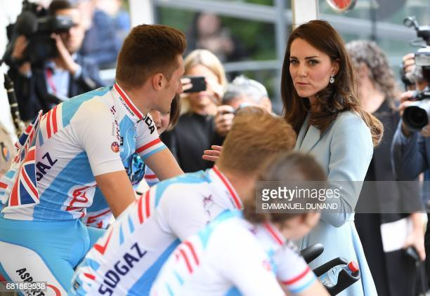Britain's Catherine Duchess of Cambridge speaks to cyclists during the 'Bicycling Nation Luxembourg' festival in Luxembourg on May 11 2017 / AFP...