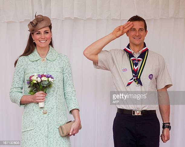 Britain's Catherine Duchess of Cambridge stands with Chief Scout Bear Grylls during the National Review of Queen's Scouts at Windsor Castle in...