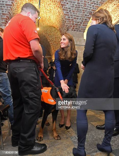 Britain's Catherine, Duchess of Cambridge strokes a rescue dog as she attends the launch of the National Emergencies Trust at St Martin-in-the-Fields...