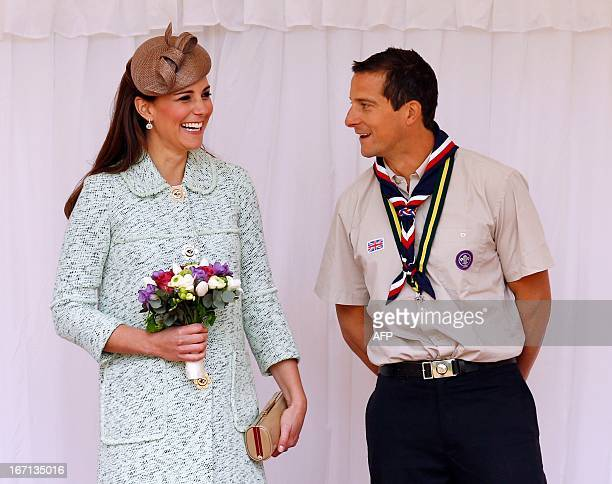 Britain's Catherine Duchess of Cambridge talks with Chief Scout Bear Grylls as she attends the National Review of Queen's Scouts at Windsor Castle in...