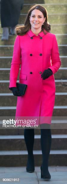 Britain's Catherine, Duchess of Cambridge, visits Coventry Cathedral, in Coventry, central England, on January 16, 2018 with her husband Britain's...