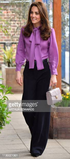Britain's Catherine, Duchess of Cambridge visits the Henry Fawcett Children's Centre in London on March 12, 2019.