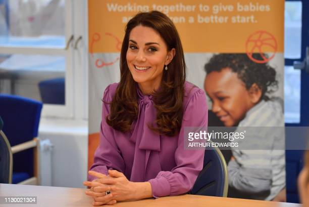 Britain's Catherine Duchess of Cambridge visits the Henry Fawcett Children's Centre in London on March 12 2019