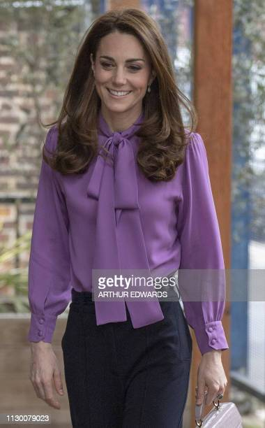Britain's Catherine, Duchess of Cambridge visits the Henry Fawcett Children's Centre in London on March 12, 2019. - The Duchess visited the Henry...